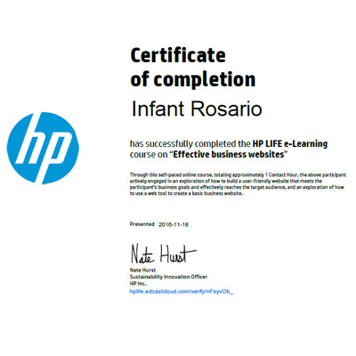HP certicate 'Business Website'